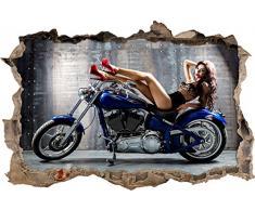 Pixxprint 3D_WD_S2028_92x62 schönes Model auf Blauem Motorrad Wanddurchbruch 3D Wandtattoo, Vinyl, Bunt, 92 x 62 x 0,02 cm