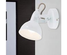 Briloner Leuchten 2049-016 Wandleuchte, Wandstrahler mit dreh-und schwenkbarem Spot im Retro/Vintage Design, Metall, 40 W, weiß