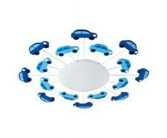 EGLO Deckenlampe Viki 1, 1 flammige Kinderzimmer Wandlampe, Deckenleuchte aus Stahl, Farbe: Blau, Glas: satiniert, weiß, Fassung: E27