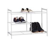 Relaxdays Schuhregal SANDRA mit 3 Ebenen, Schuhablage aus Metall, mit Stiefelfach, HBT: ca. 50,5 x 70 x 26 cm, für 8 Paar Schuhe, mit Griffen, weiß
