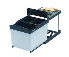PYRAMIS 038000201 Einbau Abfallsammler 3-Fach Mülltrennung, schwarz/grau