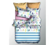 DecoKing 04098 Bettwäsche 135x200 cm Kinderbettwäsche mit 1 Kissenbezug 80x80 Bettwäscheset Bettbezüge Microfaser Bettwäschegarnituren Reißverschluss Basic Collection Stripes weiß blau rosa grün gelb orange