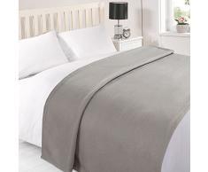 Tonys Textiles Fleecedecke - Überwurf für Sofa, Bett, Sessel - einfarbig - besonders weich - Grau