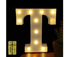 Funrui Markisen-LED-Lichterkette mit 26 Alphabet-Lichtern, beleuchtet, für Schlafzimmer, Nachtlicht, Hochzeit, Geburtstag, Party, Festival, Valentinstag, batteriebetrieben, Dekoration für Zuhause, Bar-Dekoration T