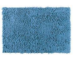 WENKO 22340100 Badteppich Chenille Ocean Blue, Duschmatte, Polyester, 50 x 80 cm, Blau