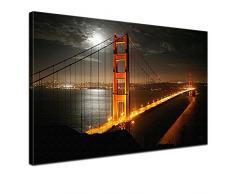Lana KK - Golden Gate Bridge - edel Leinwand Bild Kunstdruck auf Keilrahmen, fertig gerahmt in 120 x 80 cm, einteilig