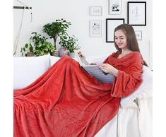 DecoKing Kuscheldecke mit Ärmeln 170x200 cm rot Microfaser TV Decke weich Tagesdecke Lazy
