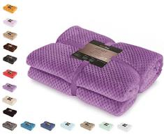 DecoKing 66126 Kuscheldecke 170x210 cm violett Decke Microfaser Wohndecke Tagesdecke Fleece weich sanft kuschelig skandinavischer Stil lila Henry