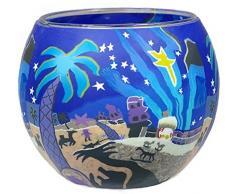 Himmlische Düfte Geschenkartikel CC263 Tischdekoration, Bethlehem Windlicht Glas 11 x 11 x 9 cm, bunt