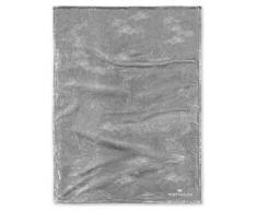 TOM TAILOR Angorina-Fleece Wohndecke 180 x 220 cm, grau, Mikrofaser, hellgrau, 1x 180x220 cm
