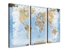 Lana KK - Weltkarte Ice mit Korkrückwand - edel Leinwand Bild Kunstdruck auf Keilrahmen, Pinnwand für Weltenbummler 150 x 100 cm, dreiteilig