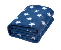 Dreamscene Flannel Fleece Sterne Überwurf über Bett warm weich Decke Plüsch für Kinder Sofa, blau, 125 x 150cm