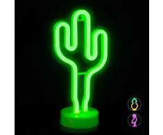 Relaxdays LED Neonlicht Kaktus, dekoratives Neonzeichen, Tisch & Wand, Batterie, Partydeko & Nachtlicht, H: 29 cm, grün