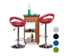 Relaxdays Barhocker 2er Set, höhenverstellbar, drehbar, bis 120 kg, mit Lehne, Barstuhl, HxBxT: 98,5 x 46 x 39 cm, rot
