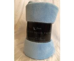 Ultra Weich Cozy Plush Fleece Warm Solid Colors Reisen Überwurf Decke 127 x 152,4 cm (127 cm x 152 cm), Polyester-Mischgewebe, hellblau, 50 X 60 (127 Cm X 152 Cm)