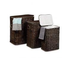Relaxdays 3er Set geflochten Rattan eckig HBT 54,5 x 45,5 x 33,5 cm stapelbare Wäschetruhe mit herausnehmbarem Wäschesack waschbar Wäschebox ca. 69 L Wäschesammler atmungsaktiv, Schokobraun