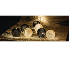 HQ Lichterkette, 10 LEDs, schwarz / weiße Kugel HQLEDSLPBALL