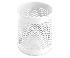 V-Part Papierkorb aus Metall perforiert 15 Liter, weiß