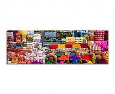 Panoramabild auf Leinwand und Keilrahmen 150x50cm Indien Delhi Marktstand Gewürze bunt