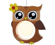 Elobra Kinderlampe Deckenleuchte Hängeleuchte Eule, Kinderzimmer, Holz, braun,A++