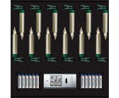 KRINNER Lumix LUMIX Superlight Mini Metallic, kabellose, von Hand lackierte Power LED Christbaumkerzen 12er Basis-Set, ABS Kunststoff, 0.014 W, gold, 1.5 x 1.5 x 9 cm