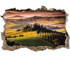 Pixxprint 3D_WD_S2250_62x42 traumhafte Toskana Landschaft mit Haus Wanddurchbruch 3D Wandtattoo, Vinyl, bunt, 62 x 42 x 0,02 cm