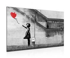 Bild Banksy - Ballon Girl Street Art Wandbild Vlies - Leinwand Bilder XXL Format Wandbilder Wohnzimmer Wohnung Deko Kunstdrucke Rot Grau 1 Teilig - MADE IN GERMANY - Fertig zum Aufhängen 301614a