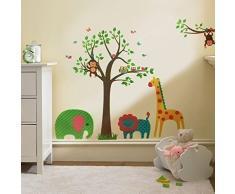 Walplus Wand Sticker Aufkleber Kunst Dekoration Tiere Baum Bunt Kinderzimmer Deko