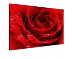 LANA KK - Leinwandbild Liebe Red mit Blumen auf Echtholz-Keilrahmen – Frühling und Natur Fotoleinwand-Kunstdruck in rot, einteilig & fertig gerahmt in 100x70cm