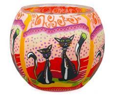 Himmlische Düfte Geschenkartikel CC212 Tischdekoration, Zwei Katzen Windlicht Glas 11 x 11 x 9 cm, bunt