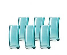 Leonardo 014800 Set 6 Becher Wassergläser groß Swing, spülmaschinenfest, laguna türkis / blau