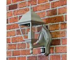 Wandlampe mit Bewegungsmelder weiß aus Aluminium und Glas rustikaler Stil 1x E27 bis 60W 230V IP 44 Laterne Außenbereich Sensor verstellbar Landhaus