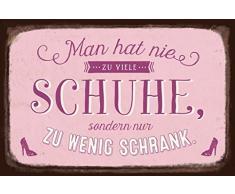 Grafik-Werkstatt Schild Art Nostalgic Vintage Blechschild mit Spruch   Retro Wand-Deko   Nostalgie   pink   Man hat nie zu viele Schuhe, Metall, 30 x 20 cm