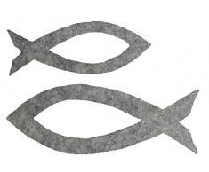 Petras Bastel News Streudeko, Fliz, grau-meliert, 18 x 12 x 5 cm