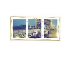 Umbra Prisma Bilderrahmen Collage 13 x 18 cm – Wand- und Tisch Multi-Fotorahmen für 3 Bilder, Fotos, Kunstdrucke, Illustrationen, Graphiken und Mehr, Messing