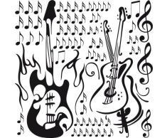 Graz Design 770068_57x57_070 Wandtattoo Wandaufkleber Set für Wohnzimmer Musik Gitarren Noten