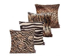 Queenie – 4 PCS Überwurf, Webpelz Kissenbezüge Kissenbezug für Sofa Kissen Fall erhältlich in 5 Farben und 6 verschiedenen Größen, baumwolle, Bundle Set B of 4, 18 x 18 inch (45 x 45 cm)