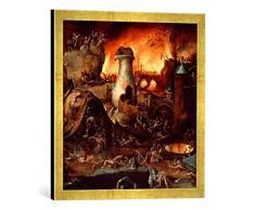 Gerahmtes Bild von Hieronymus BoschDie Hölle, Kunstdruck im hochwertigen handgefertigten Bilder-Rahmen, 50x50 cm, Gold Raya