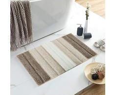 Lewondr Mikrofaser Badematte, Weich rutschfest Badteppich Fußmatte, elegant gestreift Hochflor Badvorleger für Badezimmer 50x80cm - Beige und Braun