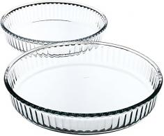Borcam 1690038 Set 2Â runden Tarteformen Glas transparent 32Â x 32Â x 5Â cm