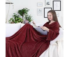 DecoKing Kuscheldecke mit Ärmeln 170x200 cm Bordeaux Microfaser TV Decke weich Tagesdecke Lazy