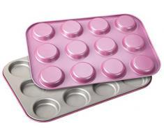 Zenker creative studio Whoopie-Backblech, Backform für Kekse, Backblech mit Antihaftbeschichtung für 12 Whoppies, kreatives Backen (Farbe: rosa, silber), Menge: 2 Stück