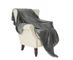 Exklusivo Mezcla Flanell Fleece Samt Plüsch Überwurf Decke – 127 x 178 cm (grau)