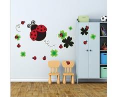 Walplus 195x 105cm Wand Aufkleber Marienkäfer Tafel Abnehmbarer Wandbild Art Decals Home DIY Décor Tapete Kinderzimmer Kinder Kids Zimmer Geschenk, mehrfarbig