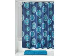 iDesign Padma Medallion Textil Duschvorhang | farbenfroher Vorhang aus Stoff für Badewanne und Duschwanne | pflegeleichte 183 cm x 183 cm große Duschabtrennung | Polyester blau