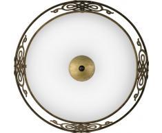 Eglo Wand Deckenleuchte Modell Mestre/in antikbraun goldenem Stahl und satiniertem Glas/HV 2 x E27 max. 60 W/exklusiv Leuchtmittel/ø 39.5 cm/Ausladung 13.3 cm 86712