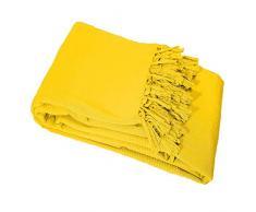 Le Jardin Des Cigales Lana Sofa-Überwurf Hat Fransen Baumwolle gewebt gelb, Baumwolle, gelb, 180x0.5x180 cm