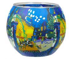 Himmlische Düfte Geschenkartikel CC237 Tischdekoration, Cafe Terasse bei Nacht Windlicht Glas 11 x 11 x 9 cm, bunt