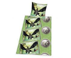 Herding 4626312050412 Dragons Bettwäsche, Baumwolle, grün, 135 x 200 x cm