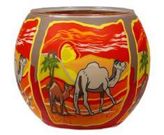 Himmlische Düfte Geschenkartikel CC213 Tischdekoration, Camels Windlicht Glas 11 x 11 x 9 cm, bunt
